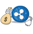 with money bag ripple coin character cartoon vector image