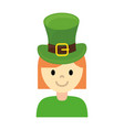 woman wearing leprechaun hat vector image vector image