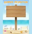 wood board sign on sea sand beach with relax chair vector image vector image