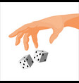 human hand throws black and white dice isolated vector image