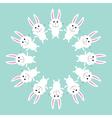Cute bunny rabbit Round frame Flat design vector image