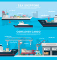 sea shipping banner set with cargo seaport vector image
