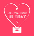 all you need is beat - retro poster with heart vector image vector image