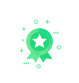 badge with star green vector image vector image