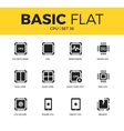 Basic set of CPU icons vector image vector image