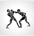 boxing fighters abstract silhouettes punch vector image