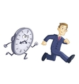 Businessman is running against time vector image