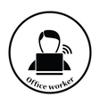 Businessman sitting behind a laptop icon vector image vector image