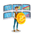 businessman standing with big bitcoin sign vector image vector image