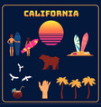 california symbols set sun surfers palms vector image