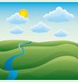 cartoon natural landscape green hills river cloud vector image
