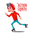 child girl with action camera teenager vector image