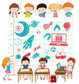 Children doing science at school vector image vector image