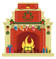 christmas fireplace with socks gifts decorations vector image