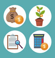 color background icons growth economy in circular vector image vector image