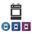cooker icon in different variants with long shadow vector image vector image