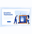 creative teamwork flat web page design template vector image