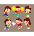 cute cartoon girl many actions vector image vector image
