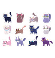 cute cat different breeds domestic cartoon animal vector image vector image