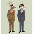 deer and fox hipster style dressed hat glasses vector image