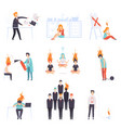 exhausted men and women with burning brains set vector image vector image