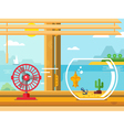 Fan and Aquarium on Windowsill Next to Open Window vector image
