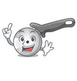 finger pizza cutter knife isolated on mascot vector image