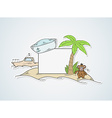 funny cartoon island with blank paper vector image