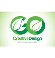 go green leaf letter design logo eco bio leaf vector image vector image