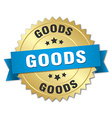 goods 3d gold badge with blue ribbon vector image vector image