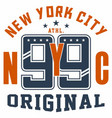 graphic design new york nyc original for t-shirts vector image vector image
