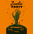 halloween holiday zombie party greeting card vector image vector image