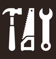 hammer saw and wrench tools icon vector image vector image