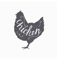 Hand drawn farm bird hipster silhouette Chicken vector image vector image