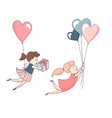 happy valentines day set female character flying vector image