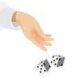 human hand with sleeve and dice that drop down vector image vector image