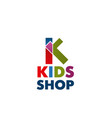 icon letter k for kids shop vector image