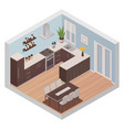 isometric kitchen interior with cooking and dining vector image vector image