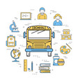 linear round banner of school bus vector image vector image