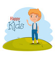 little boy happy character vector image
