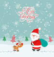 Merry christmas card with deer and santa claus vector image vector image