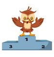owl is winner on white background vector image vector image