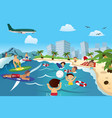 people on beach vector image