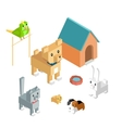 pets set icon isometric 3d design vector image vector image