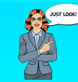 pop art business woman pointing finger vector image vector image