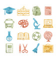 school and education icons watercolor style vector image vector image