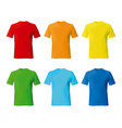 set color male tshirt template realistic mockup vector image