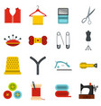 sewing set flat icons vector image