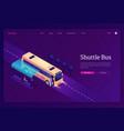 shuttle bus isometric landing page transportation vector image