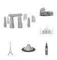 sights of different countries monochrome icons in vector image vector image
